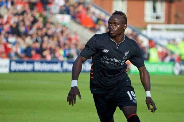 FLEETWOOD, ENGLAND - Wednesday, July 13, 2016: Liverpool's Sadio Mane in action against Fleetwood Town during a friendly match at Highbury Stadium. (Pic by David Rawcliffe/Propaganda)
