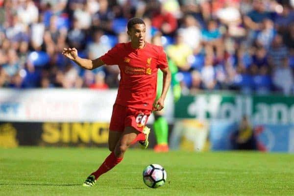 WIGAN, ENGLAND - Sunday, July 17, 2016: Liverpool's Trent Alexander-Arnold in action against Wigan Athletic during a pre-season friendly match at the DW Stadium. (Pic by David Rawcliffe/Propaganda)