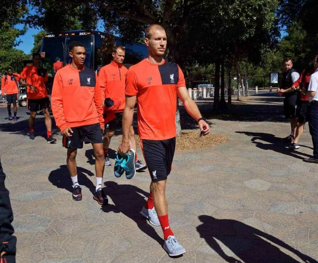 STANFORD, USA - Thursday, July 21, 2016: Liverpool's new signing Ragnar Klavan arrives for a training session in the Laird Q. Cagan Stadium at Stanford University on day one of the club's USA Pre-season Tour. (Pic by David Rawcliffe/Propaganda)