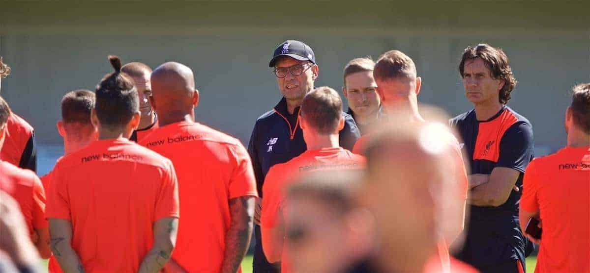 STANFORD, USA - Thursday, July 21, 2016: Liverpool's manager Jürgen Klopp speaks to his players during a training session in the Laird Q. Cagan Stadium at Stanford University on day one of the club's USA Pre-season Tour. (Pic by David Rawcliffe/Propaganda)
