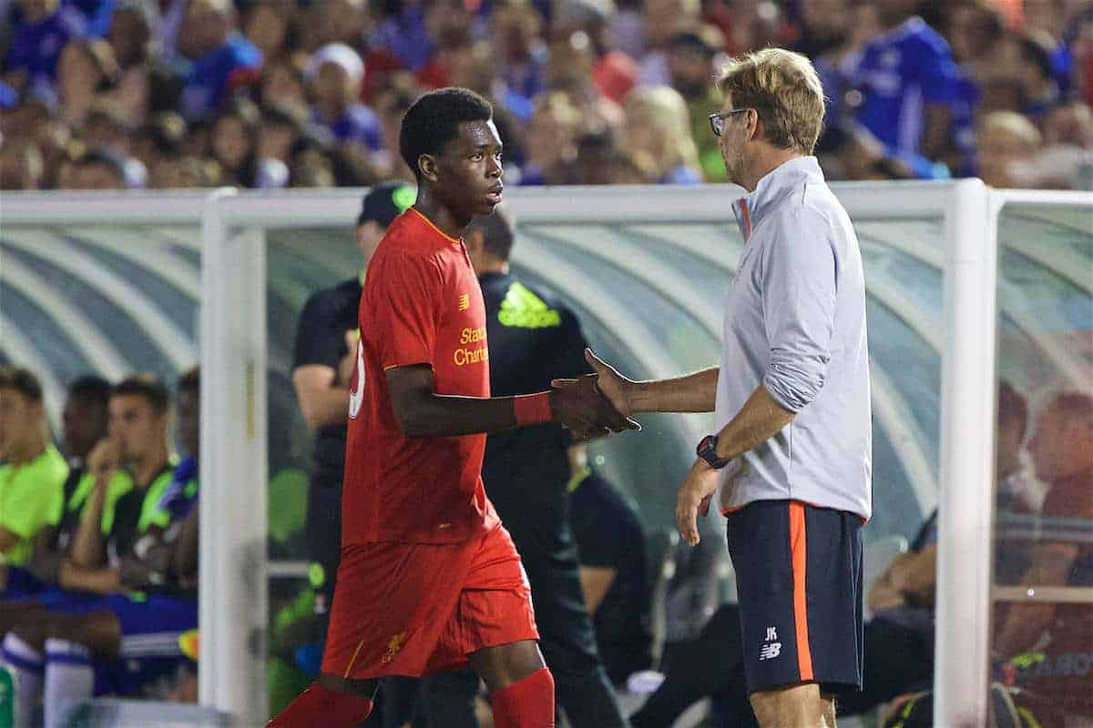 PASADENA, USA - Wednesday, July 27, 2016: Liverpool's manager Jürgen Klopp shakes hands with Oviemuno Ejaria after substituting him against Chelsea during the International Champions Cup 2016 game on day seven of the club's USA Pre-season Tour at the Rose Bowl. (Pic by David Rawcliffe/Propaganda)
