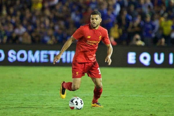 PASADENA, USA - Wednesday, July 27, 2016: Liverpool's Kevin Stewart in action against Chelsea during the International Champions Cup 2016 game on day seven of the club's USA Pre-season Tour at the Rose Bowl. (Pic by David Rawcliffe/Propaganda)