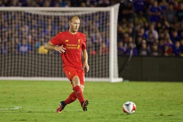 PASADENA, USA - Wednesday, July 27, 2016: Liverpool's Ragnar Klavan in action against Chelsea during the International Champions Cup 2016 game on day seven of the club's USA Pre-season Tour at the Rose Bowl. (Pic by David Rawcliffe/Propaganda)