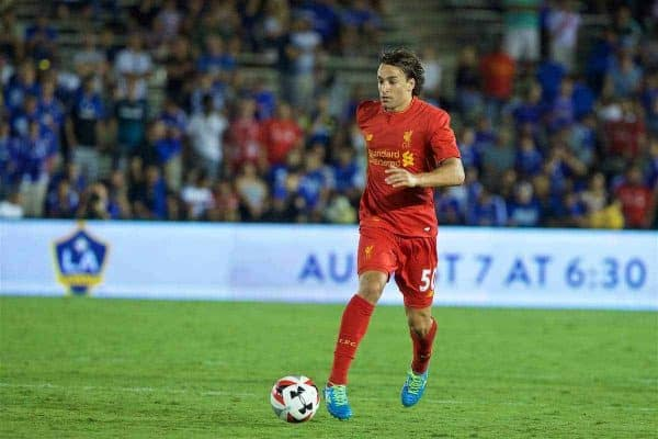 PASADENA, USA - Wednesday, July 27, 2016: Liverpool's Lazar Markovic in action against Chelsea during the International Champions Cup 2016 game on day seven of the club's USA Pre-season Tour at the Rose Bowl. (Pic by David Rawcliffe/Propaganda)