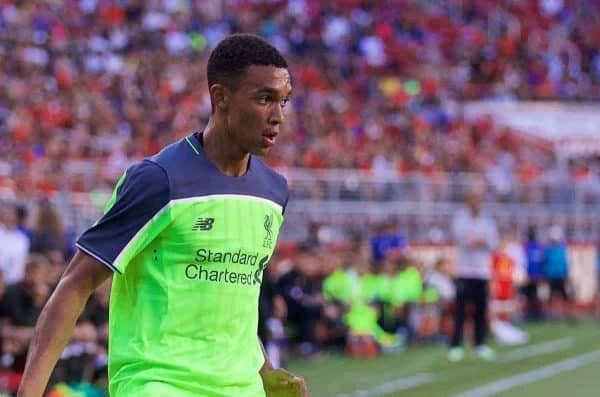 SANTA CLARA, USA - Saturday, July 30, 2016: Liverpool's Trent Alexander-Arnold in action against AC Milan during the International Champions Cup 2016 game on day ten of the club's USA Pre-season Tour at the Levi's Stadium. (Pic by David Rawcliffe/Propaganda)