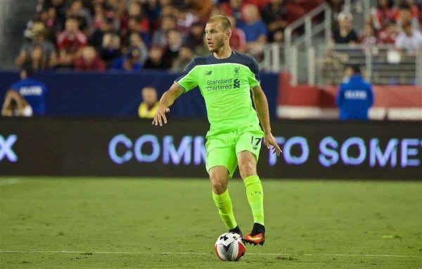SANTA CLARA, USA - Saturday, July 30, 2016: Liverpool's Ragnar Klavan in action against AC Milan during the International Champions Cup 2016 game on day ten of the club's USA Pre-season Tour at the Levi's Stadium. (Pic by David Rawcliffe/Propaganda)