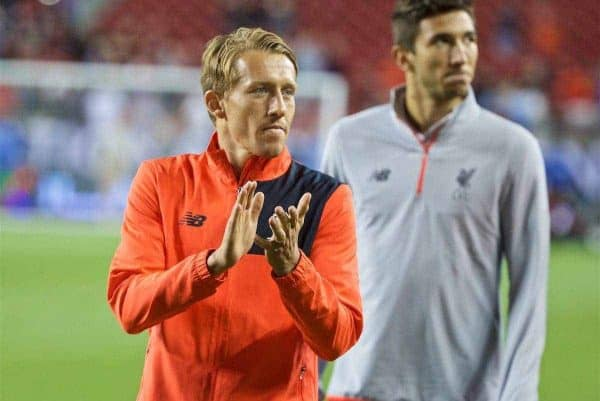 Liverpool's injured Lucas Leiva during the International Champions Cup 2016 game against AC Milan on day ten of the club's USA Pre-season Tour at the Levi's Stadium. (Pic by David Rawcliffe/Propaganda)