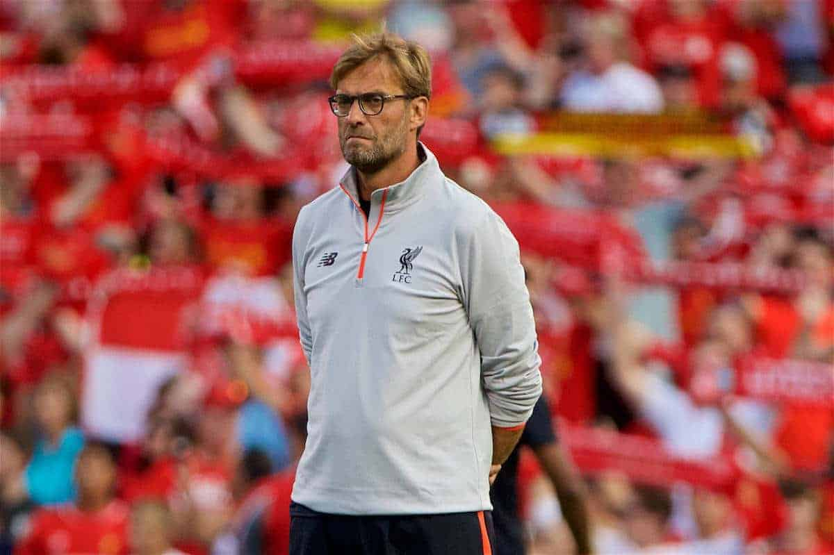 ST. LOUIS, USA - Monday, August 1, 2016: Liverpool's manager Jürgen Klopp before a pre-season friendly game against AS Roma on day twelve of the club's USA Pre-season Tour at the Busch Stadium. (Pic by David Rawcliffe/Propaganda)
