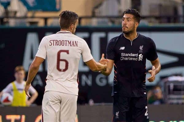 ST. LOUIS, USA - Monday, August 1, 2016: Liverpool's Emre Can makes up with AS Roma's Kevin Strootman after a clash during a pre-season friendly game on day twelve of the club's USA Pre-season Tour at the Busch Stadium. (Pic by David Rawcliffe/Propaganda)