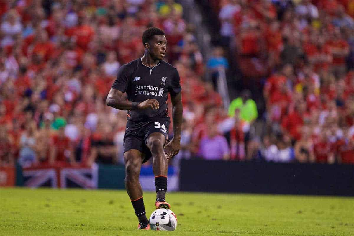 ST. LOUIS, USA - Monday, August 1, 2016: Liverpool's Sheyi Ojo in action against AS Roma during a pre-season friendly game on day twelve of the club's USA Pre-season Tour at the Busch Stadium. (Pic by David Rawcliffe/Propaganda)