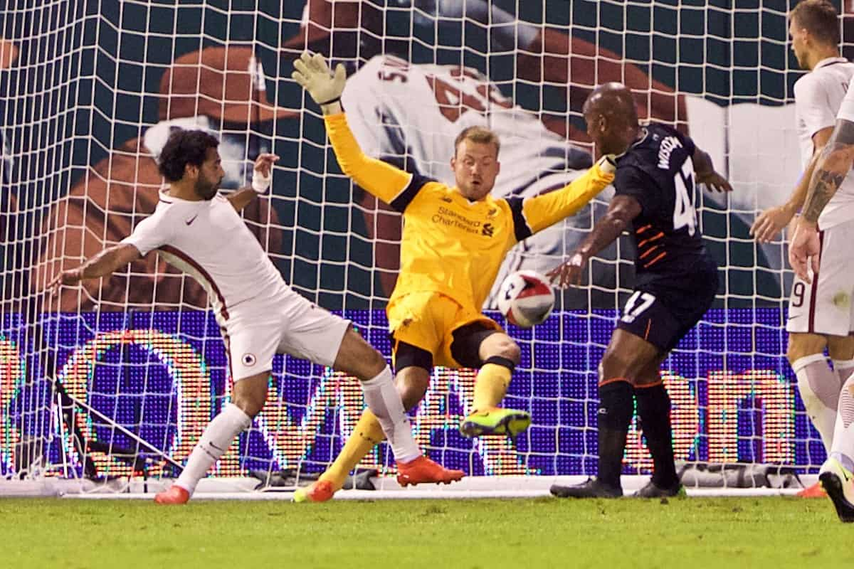 ST. LOUIS, USA - Monday, August 1, 2016: Liverpool's goalkeeper Simon Mignolet is beaten as AS Roma's Mohamed Salah scores the winning second goal during a pre-season friendly game on day twelve of the club's USA Pre-season Tour at the Busch Stadium. (Pic by David Rawcliffe/Propaganda)