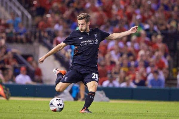 ST. LOUIS, USA - Monday, August 1, 2016: Liverpool's Adam Lallana in action against AS Roma during a pre-season friendly game on day twelve of the club's USA Pre-season Tour at the Busch Stadium. (Pic by David Rawcliffe/Propaganda)