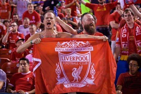 ST. LOUIS, USA - Monday, August 1, 2016: Liverpool supporters during a pre-season friendly game against AS Roma on day twelve of the club's USA Pre-season Tour at the Busch Stadium. (Pic by David Rawcliffe/Propaganda)