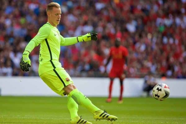 LONDON, ENGLAND - Saturday, August 6, 2016: Barcelona's goalkeeper Marc-AndrÈ ter Stegen in action against Liverpool during the International Champions Cup match at Wembley Stadium. (Pic by Xiaoxuan Lin/Propaganda)