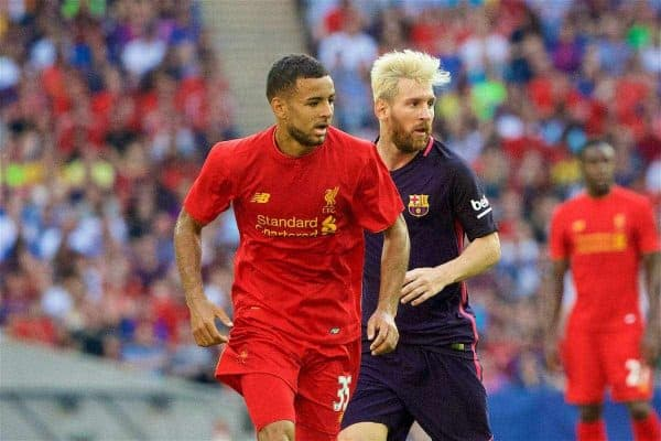 LONDON, ENGLAND - Saturday, August 6, 2016: Liverpool's Kevin Stewart in action against Barcelona's Lionel Messi during the International Champions Cup match at Wembley Stadium. (Pic by Xiaoxuan Lin/Propaganda)
