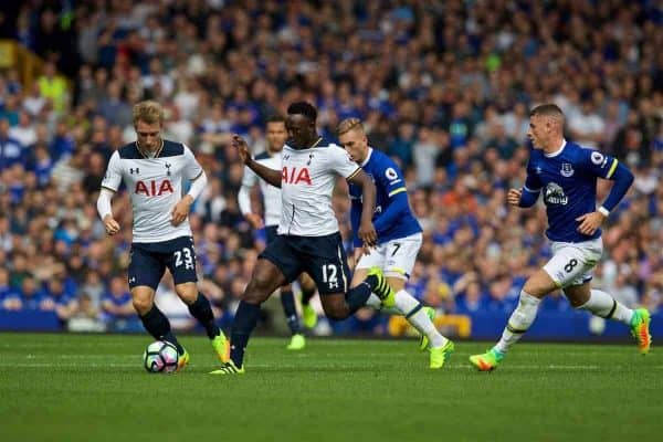 LIVERPOOL, ENGLAND - Saturday, August 13, 2016: Tottenham Hotspur's Victor Wanyama in action against Everton during the FA Premier League match at Goodison Park. (Pic by David Rawcliffe/Propaganda)