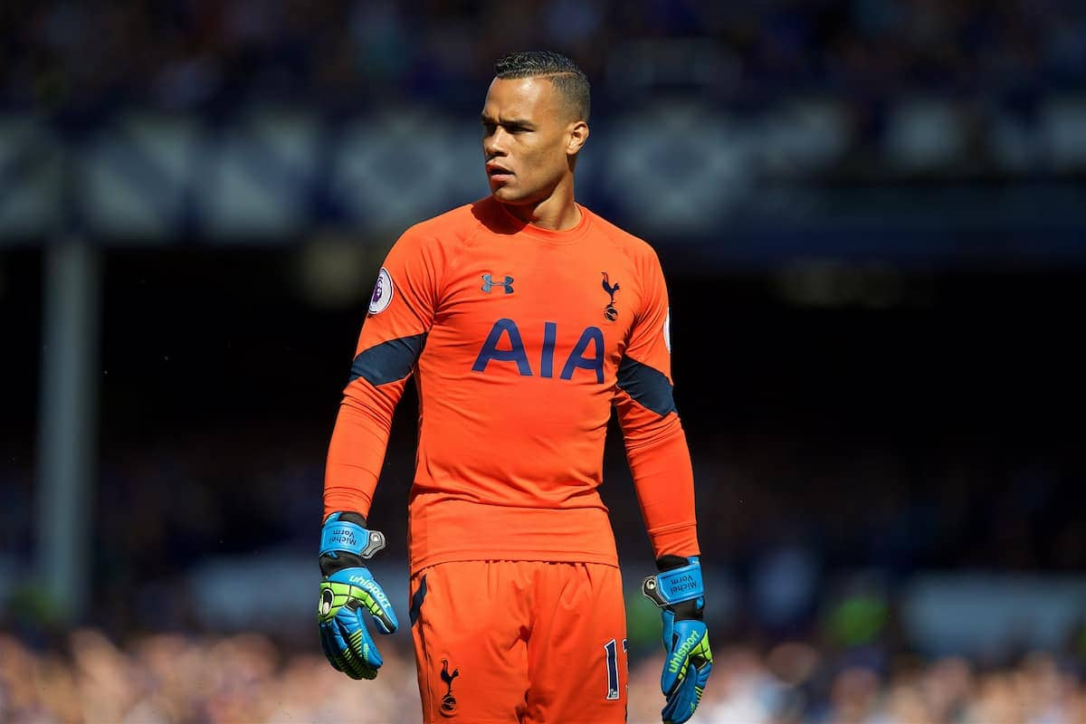 LIVERPOOL, ENGLAND - Saturday, August 13, 2016: Tottenham Hotspur's goalkeeper Michel Vorm in action against Everton during the FA Premier League match at Goodison Park. (Pic by David Rawcliffe/Propaganda)