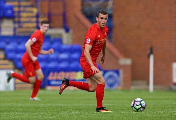 BIRKENHEAD, ENGLAND - Sunday, August 14, 2016: Liverpool's Brooks Lennon in action against Southampton during the Under-23 FA Premier League 2 match at Prenton Park. (Pic by Gavin Trafford/Propaganda)