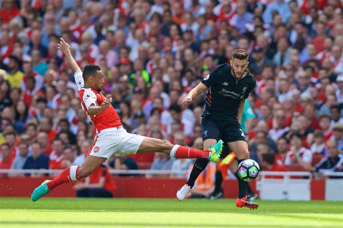 LONDON, ENGLAND - Sunday, August 14, 2016: Liverpool's Adam Lallana in action against Arsenal during the FA Premier League match at the Emirates Stadium. (Pic by David Rawcliffe/Propaganda)