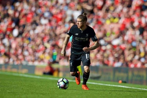 LONDON, ENGLAND - Sunday, August 14, 2016: Liverpool's Alberto Moreno in action against Arsenal during the FA Premier League match at the Emirates Stadium. (Pic by David Rawcliffe/Propaganda)