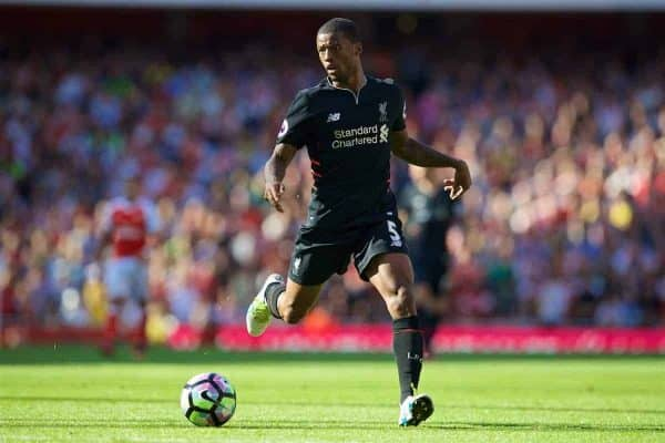 LONDON, ENGLAND - Sunday, August 14, 2016: Liverpool's Georginio Wijnaldum in action against Arsenal during the FA Premier League match at the Emirates Stadium. (Pic by David Rawcliffe/Propaganda)