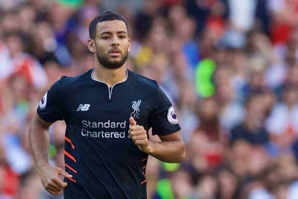 LONDON, ENGLAND - Sunday, August 14, 2016: Liverpool's Kevin Stewart during the FA Premier League match against Arsenal at the Emirates Stadium. (Pic by David Rawcliffe/Propaganda)