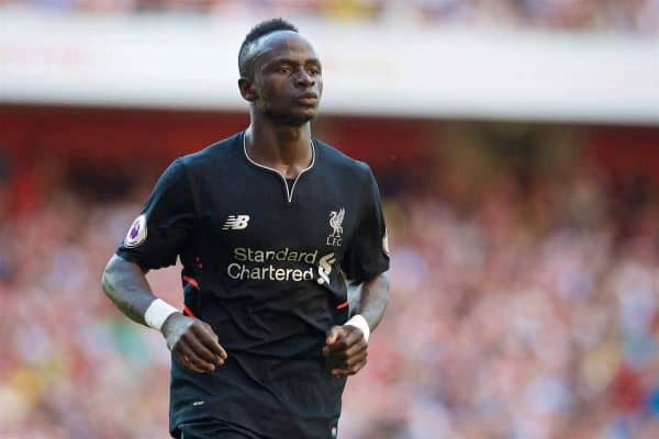 LONDON, ENGLAND - Sunday, August 14, 2016: Liverpool's Sadio Mane during the FA Premier League match against Arsenal at the Emirates Stadium. (Pic by David Rawcliffe/Propaganda)