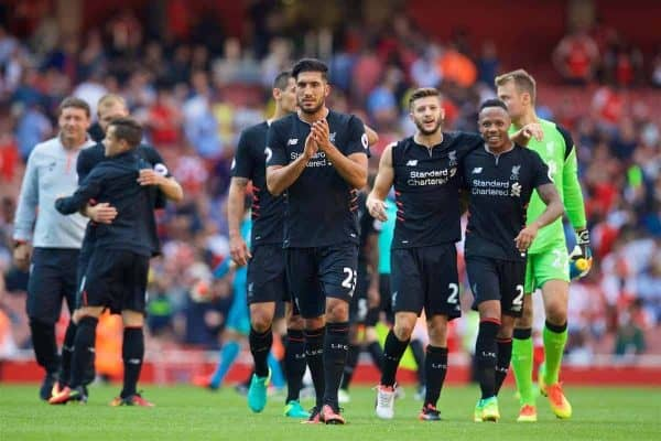 LONDON, ENGLAND - Sunday, August 14, 2016: Liverpool's Emre Can, Adam Lallana and Nathaniel Clyne celebrate the 4-3 victory over Arsenal after the FA Premier League match against Arsenal at the Emirates Stadium. (Pic by David Rawcliffe/Propaganda)
