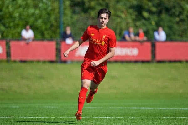KIRKBY, ENGLAND - Monday, August 15, 2016: Liverpool's Liam Millar in action against Blackburn Rovers during the Under-18 FA Premier League match at the Kirkby Academy. (Pic by David Rawcliffe/Propaganda)