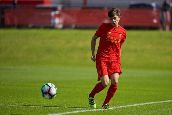 KIRKBY, ENGLAND - Monday, August 15, 2016: Liverpool's Adam Lewis in action against Blackburn Rovers during the Under-18 FA Premier League match at the Kirkby Academy. (Pic by David Rawcliffe/Propaganda)