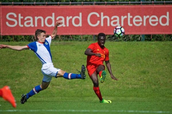 KIRKBY, ENGLAND - Monday, August 15, 2016: Liverpool's Bobby Adekanye in action against Blackburn Rovers during the Under-18 FA Premier League match at the Kirkby Academy. (Pic by David Rawcliffe/Propaganda)
