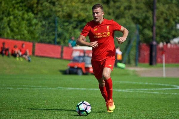 KIRKBY, ENGLAND - Monday, August 15, 2016: Liverpool's Herbie Kane in action against Blackburn Rovers during the Under-18 FA Premier League match at the Kirkby Academy. (Pic by David Rawcliffe/Propaganda)