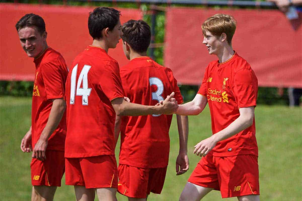 KIRKBY, ENGLAND - Monday, August 15, 2016: Liverpool's Glen McAuley celebrates scoring the fourth goal against Blackburn Rovers during the Under-18 FA Premier League match at the Kirkby Academy. (Pic by David Rawcliffe/Propaganda)