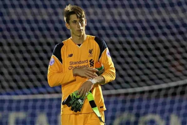 ALDERSHOT, ENGLAND - Monday, August 22, 2016: Liverpool's goalkeeper Kamil Grabara looks dejected as his side lose 4-1 to Chelsea during the FA Premier League 2 Under-23 match at the Recreation Ground. (Pic by David Rawcliffe/Propaganda)
