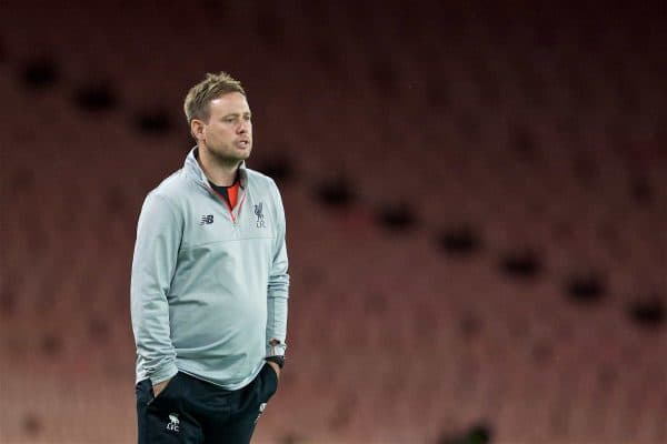 LONDON, ENGLAND - Friday, August 26, 2016: Liverpool's Under-23 manager Michael Beale during the FA Premier League 2 Under-23 match against Arsenal at the Emirates Stadium. (Pic by David Rawcliffe/Propaganda)