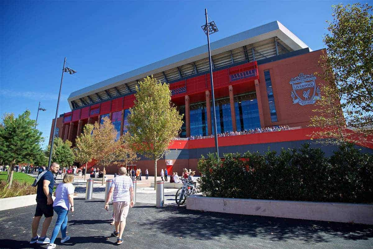 LIVERPOOL, ENGLAND - Monday, August 29, 2016: Liverpool's new Main Stand undergoes testing as supporters experience the newly rebuilt stand for the second time at Anfield. (Pic by David Rawcliffe/Propaganda)