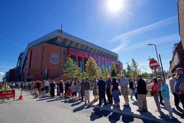 LIVERPOOL, ENGLAND - Monday, August 29, 2016: Supporters queue to enter Liverpool's new Main Stand as testing takes place for the second time at Anfield. (Pic by David Rawcliffe/Propaganda)
