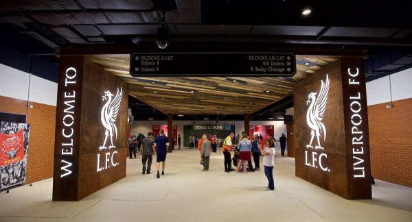 LIVERPOOL, ENGLAND - Monday, August 29, 2016: Interior design on the concourse of Liverpool's new Main Stand at it undergoes testing as supporters experience the newly rebuilt stand for the second time at Anfield. (Pic by David Rawcliffe/Propaganda)