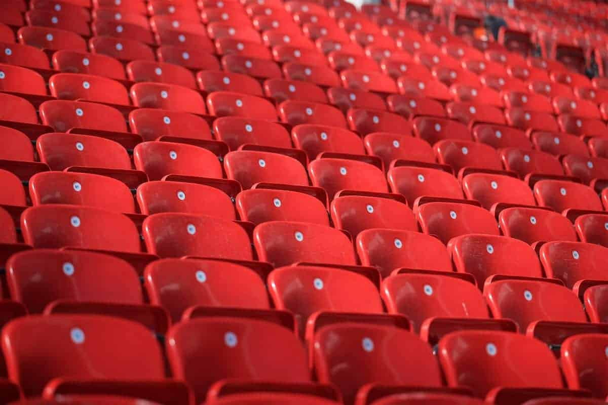 LIVERPOOL, ENGLAND - Monday, August 29, 2016: Red seats in Liverpool's new Main Stand as it undergoes testing as supporters experience the newly rebuilt stand for the second time at Anfield. (Pic by David Rawcliffe/Propaganda)