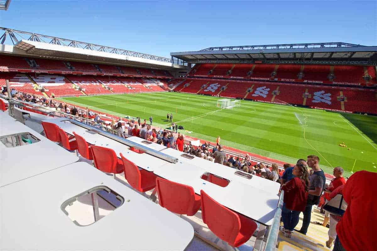 LIVERPOOL, ENGLAND - Monday, August 29, 2016: New press seats being installed in Liverpool's new Main Stand as it undergoes testing as supporters experience the newly rebuilt stand for the second time at Anfield. (Pic by David Rawcliffe/Propaganda)