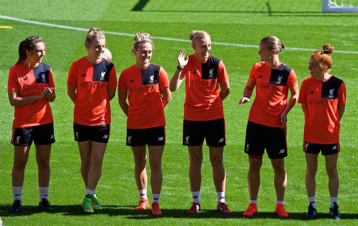 LIVERPOOL, ENGLAND - Monday, August 29, 2016: Liverpool Ladies' captain Sophie Ingle waves as the players line-up in-front of the new Main Stand as it undergoes testing as supporters experience the newly rebuilt stand for the second time at Anfield. (Pic by David Rawcliffe/Propaganda)