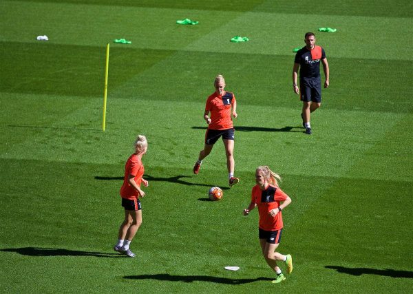 LIVERPOOL, ENGLAND - Monday, August 29, 2016: Liverpool Ladies' Sophie Ingle trains in-front of the new Main Stand as it undergoes testing as supporters experience the newly rebuilt stand for the second time at Anfield. (Pic by David Rawcliffe/Propaganda)