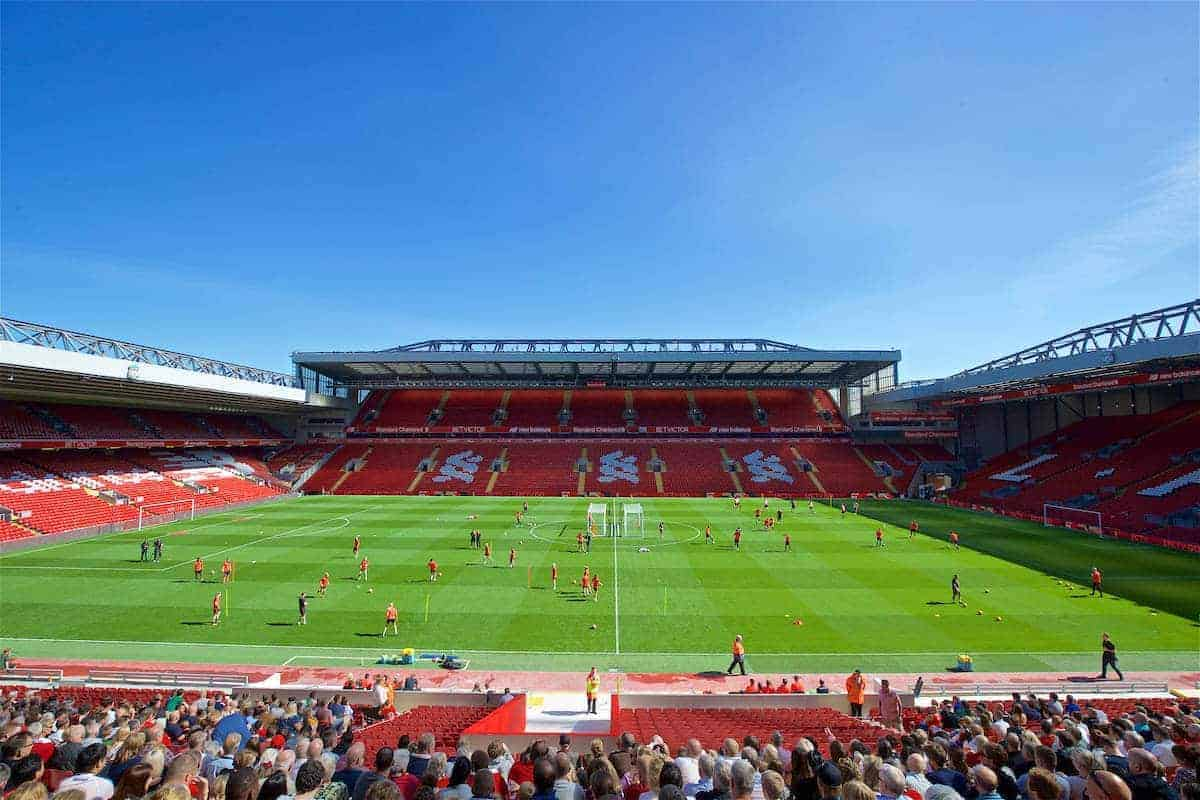 LIVERPOOL, ENGLAND - Monday, August 29, 2016: Liverpool Ladies and Under-23 players train in-front of the new Main Stand as it undergoes testing as supporters experience the newly rebuilt stand for the second time at Anfield. (Pic by David Rawcliffe/Propaganda)