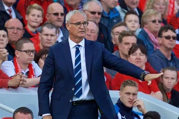 LIVERPOOL, ENGLAND - Saturday, September 10, 2016: Leicester City's manager Claudio Ranieri during the FA Premier League match against Liverpool at Anfield. (Pic by David Rawcliffe/Propaganda)