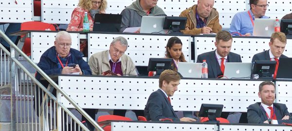 Journalists in the press box during the FA Premier League match between Liverpool and Leicester City at Anfield. Dominic King, Tony Barrett, Mark Thompson, Richard Buxton, Simon Hughes, Chris Bascombe, James Pearce, Ian Doyle, Andy Kelly, Kristian Walsh, Ged Rea, Melissa Reddy. (Pic by David Rawcliffe/Propaganda)