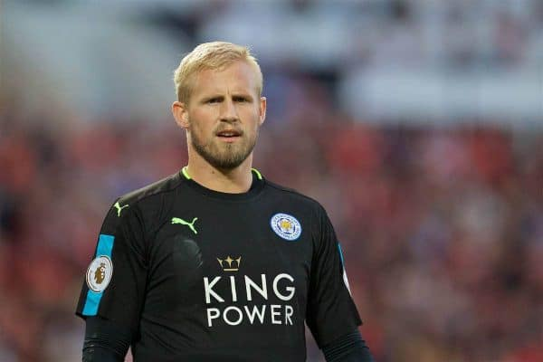Leicester City's goalkeeper Kasper Schmeichel in action against Liverpool during the FA Premier League match at Anfield. (Pic by David Rawcliffe/Propaganda)