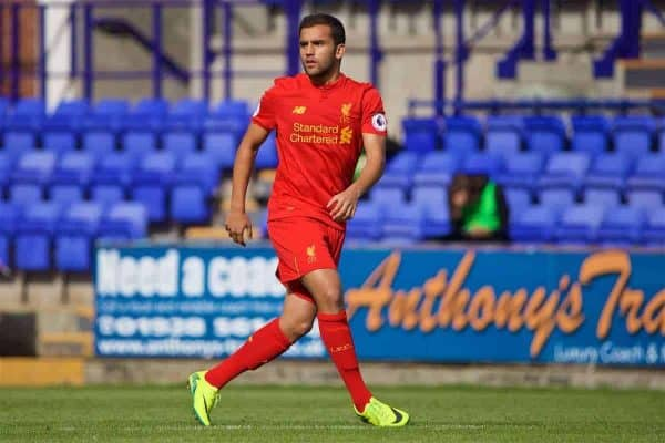 BIRKENHEAD, ENGLAND - Sunday, September 11, 2016: Liverpool's Juanma in action against Leicester City during the FA Premier League 2 Under-23 match at Prenton Park. (Pic by David Rawcliffe/Propaganda)