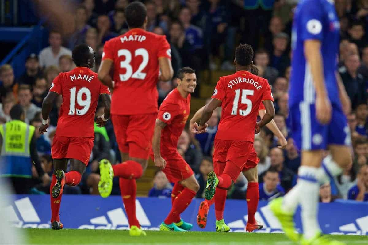 LONDON, ENGLAND - Friday, September 16, 2016: Liverpool's Dejan Lovren celebrates scoring the first goal against Chelsea during the FA Premier League match at Stamford Bridge. (Pic by David Rawcliffe/Propaganda)