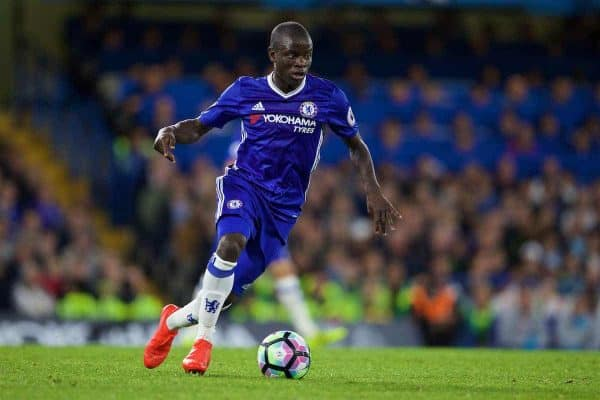 Chelsea's N'Golo Kante in action against Liverpool during the FA Premier League match at Stamford Bridge. (Pic by David Rawcliffe/Propaganda)