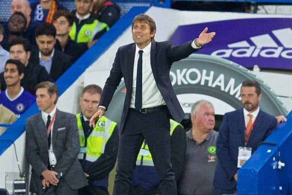 LONDON, ENGLAND - Friday, September 16, 2016: Chelsea's manager Antonio Conte during the FA Premier League match against Liverpool at Stamford Bridge. (Pic by David Rawcliffe/Propaganda)